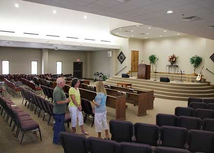 The worship hall or sanctuary of First Community Church, Crandall
